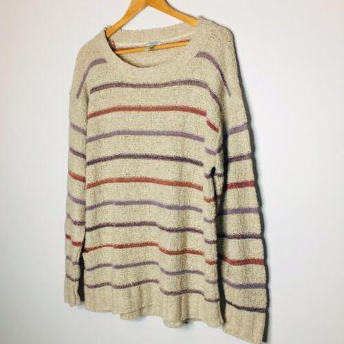 Susina 2X Stripe Sweater Oatmeals NWT size