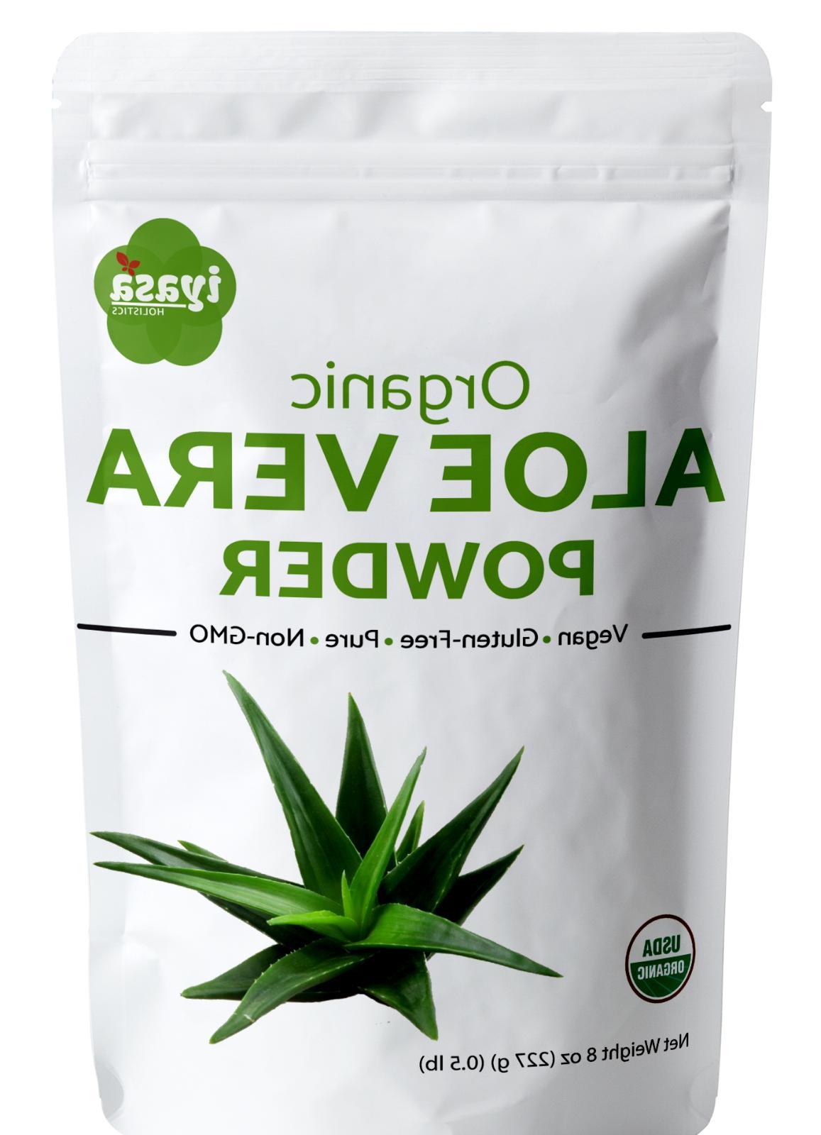 Organic Aloe Vera Powder, Aloe Barbadensis 4,8,16 oz,1 lb,Fa