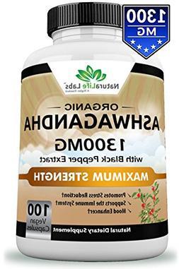 Organic Ashwagandha 2100mg - 100 vegan capsules 100% Pure O