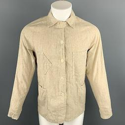 POST O'ALLS Chest Size S Oatmeal Solid Cotton Buttoned Jacke